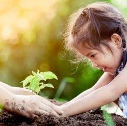 Petite fille qui met les mains dans la terre